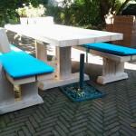 tuinset aqua, picknicktafel met losse banken